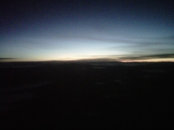 Dawn out the airplane window