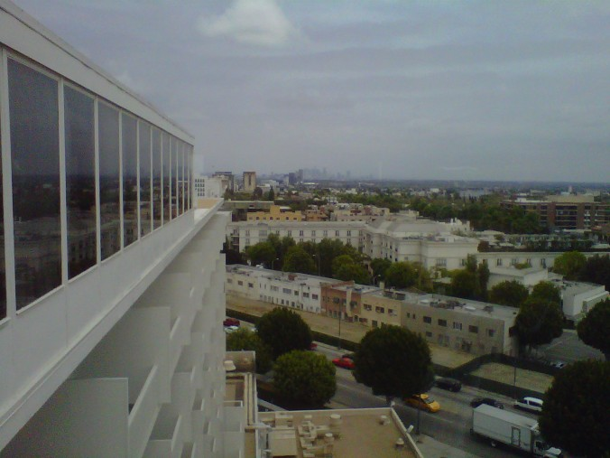 The View of Downtown from the Top of the Beverly Hilton