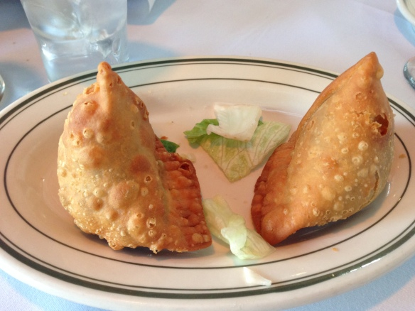 Dinner at Taj Mahal - Samosa Appetizer (copyright 2014 JoshWillTravel)