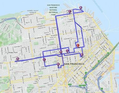 Map of St. Paul's Pub Crawl on 22 June 2014