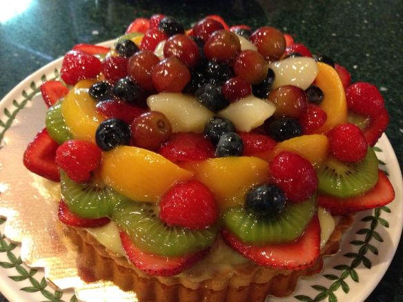 4th of July dessert - giant fruit tart cake (copyright 2014 JoshWillTravel)