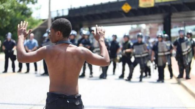 """Unarmed Man v. St. Louis County Police: """"Hands Up! Don't Shoot!"""" Ferguson MO"""