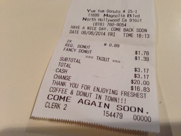 Receipt for the donut...