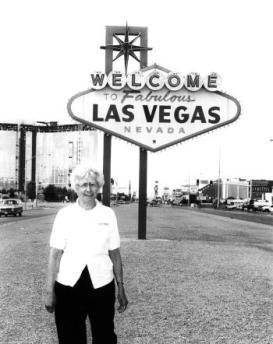 Betty Willis at the sign